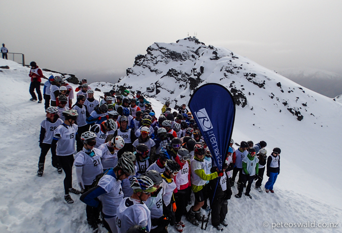 The line up of mostly Multi Sporters at the start line of the P2P. Soon after this was taken a human avalanche of carnage tore down the steep slope to our waiting skis