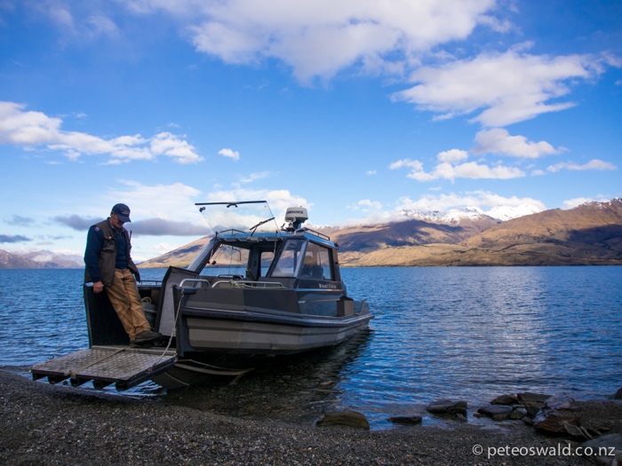 Our boat waiting to take us and our kit across Lake Wanaka to the Minaret Station where we met the chopper