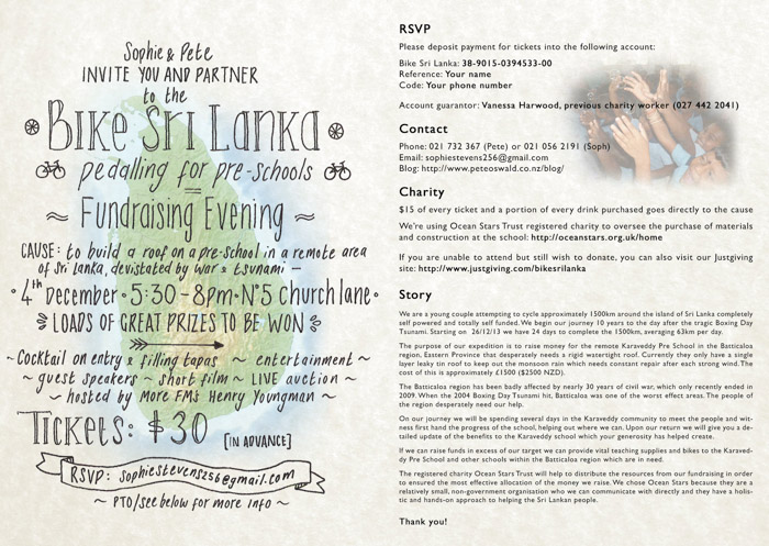 Your invite to the Bike Sri Lanka Fundraising Evening of Entertainment, there will be a Surprise Celebrity Guest