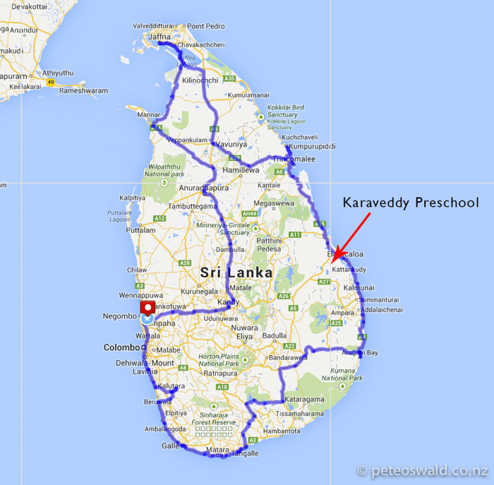 Our intended cycle route around Sri Lanka 1500km starting and finishing at Negombo Airport