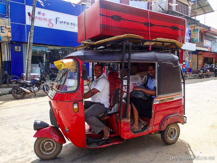 Getting all the stuff there by Tuk Tuk with a new cabinet on the roof to keep it all in