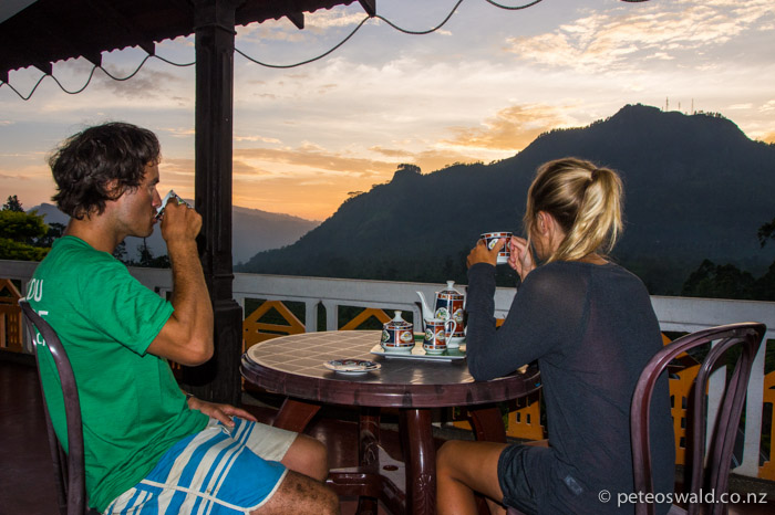 Tea at sunset in Pussawella, a tiny village at 1000m with just two shops a couple of house and this cheap guest house