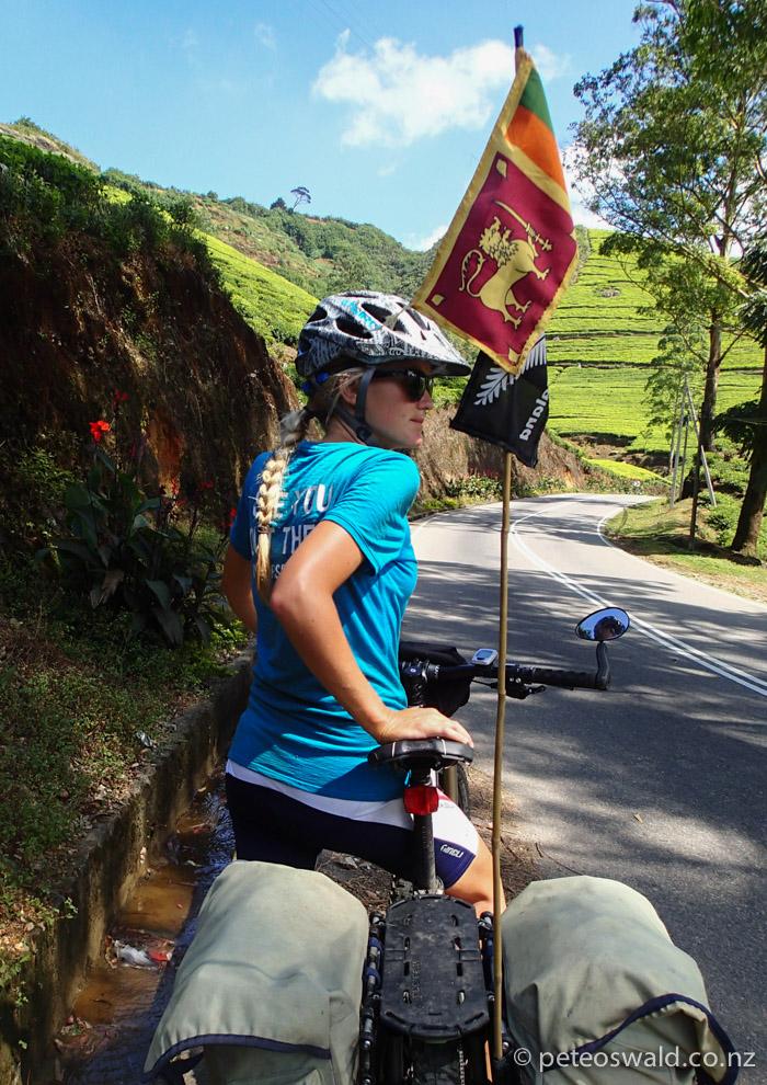 Soph on the climb up to 2000m up to Nuwara Eliya, behind the ridge is Sri Lanka's highest mountain Pidurutalagala at 2524m