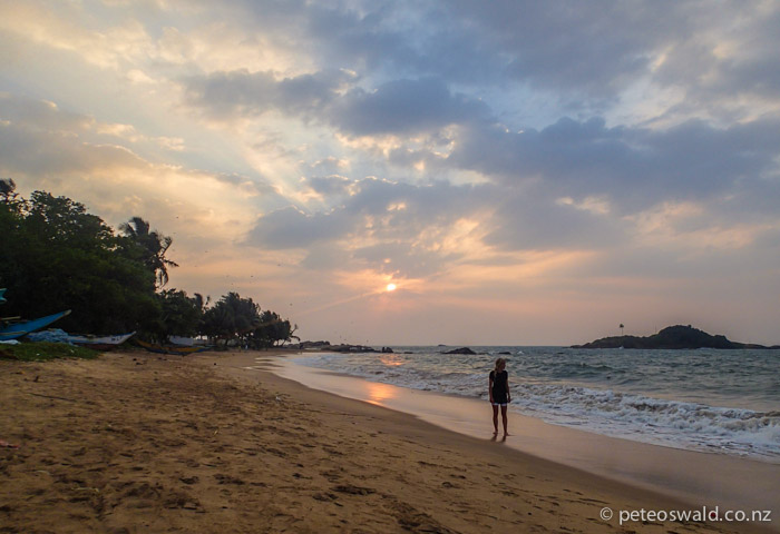 Soph in the last light on the beach at Beruwala