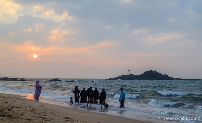 A Muslim with what we assumed to be his Harem on the beach at Beruwala