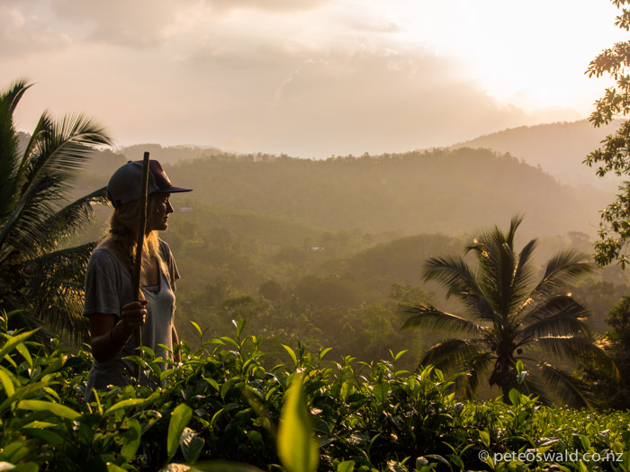 The last of the light on the way down with Sunen's Tea Plantation in the background