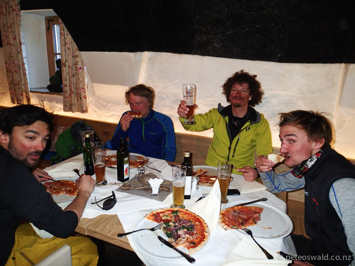 Exquisite Italian pizza in Ridauntal Valley, South Tirol after an epic day filming, L-R: Joi Hoffman, Michi Troja, David Pitschmann & Alex Hoffman