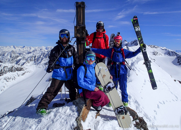 On top of a burly peak that we skied at Stubai Glacier, L-R: Tom von Platts, Daniela Hochmuth, Patrick Gstrein and myself