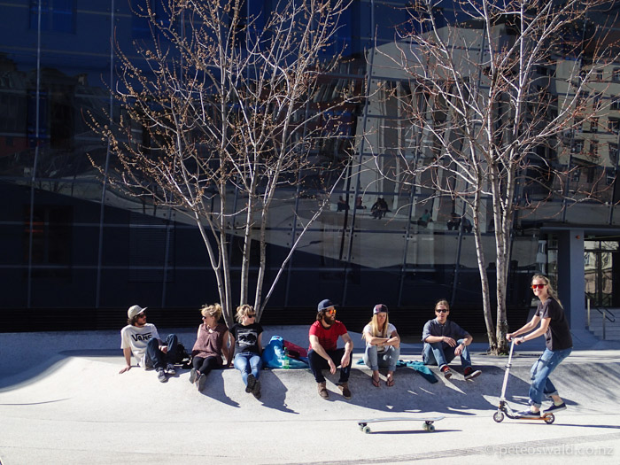The same crew enjoying some spring time weather in down town Innsbruck, this crew skied and partied together a lot!