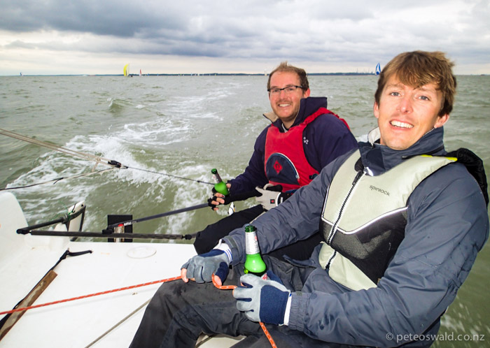 Tuesday night racing in the Solent with Orion Shuttleworth (right) on Will Carter's (left) 18 footer, planing on a broad reach with beers!