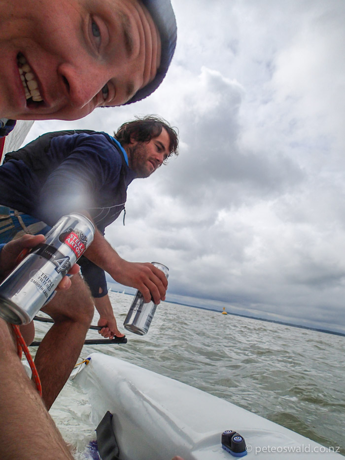 Dinghy sailing with a land locked Austrian (Lucas Zoegernitz), note the water on board, again with beers. Photo: Lucas Zogernitz