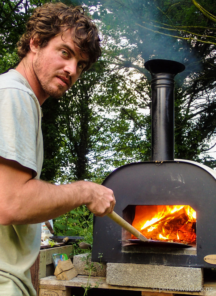 Wood fire pizza Guru Henry. Tom Turney Hosted us one night for delicious pizza and Football on a projector at his beautiful Eco Lodges accomodation. Click the photo for a link