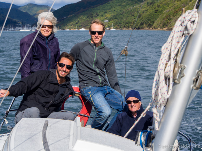 Sailing to the family bach on the family yacht for a quick chill out before flying away again. L-R: Mum, Deigo Dominguez (a very friendly hitch hiker I picked up driving home to Blenheim), Lukas & Dad