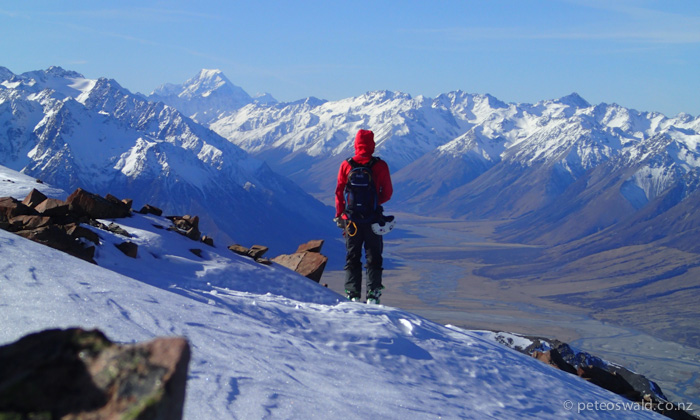 Lukas admiring the view from  Ohau Snow Fields of Mt Cook, NZ's highest mountain