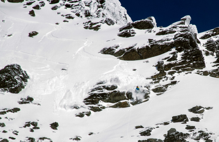 This north facing sunny aspect line at  The Remarkables is one which I have wanted to shred for a couple of seasons and was finally on for only one day this season! Photo: Sam Lynch