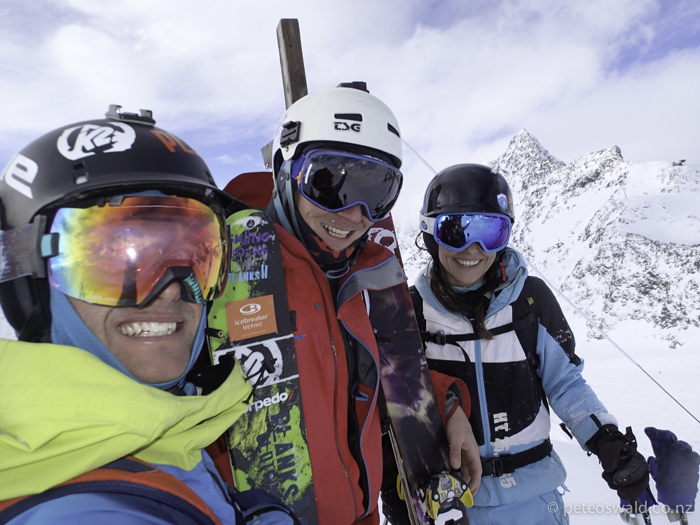 (L-R) Myself, Lukas Zoegernitz & Claudia Klobasa on top of a hike just before an awesome, totally fresh run