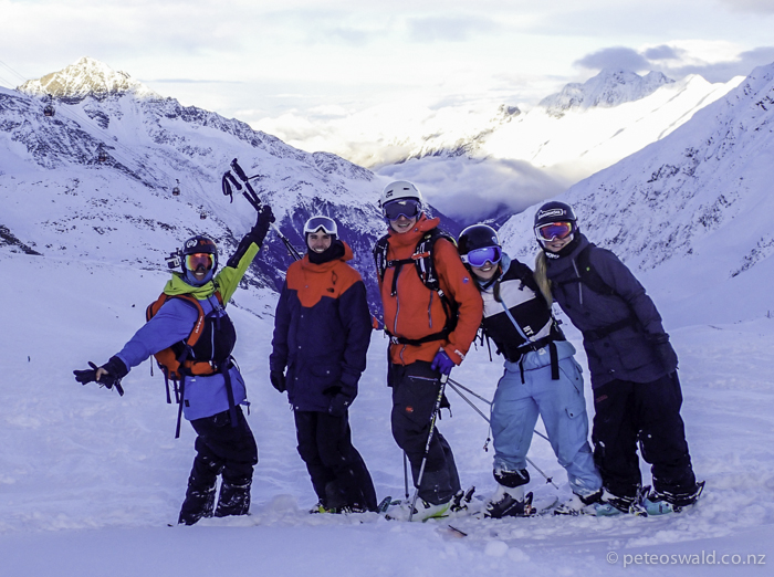 The great crew that we shared that day with (L-R) myself, Alberto Giacomolli, Lukas Zoegernitz, Claudia Klobasa & fellow K2 team rider Birgit Ertl