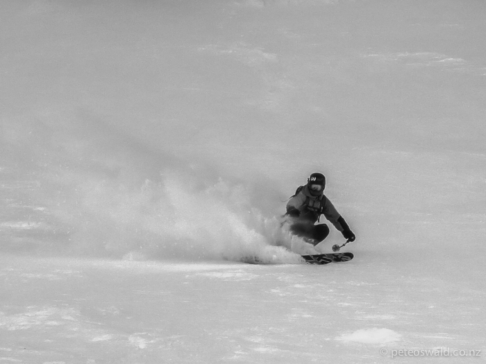"Shredding some ""chalky"" snow, I love it! Photo: Lukas Zoegernitz"