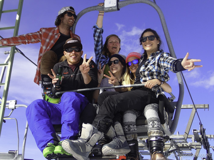 "Axams new ""6 man chairlift""! (L-R): myself, Robert Stoeckel, Anne Stevens, Betty Larl, Sophie Stevens, Cecci Gobi. Photo: don't remember"