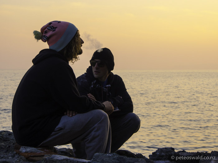 Markus (L) & Hannes (R) chilling in the long Med suntset before driving home to Innsbruck, Austria