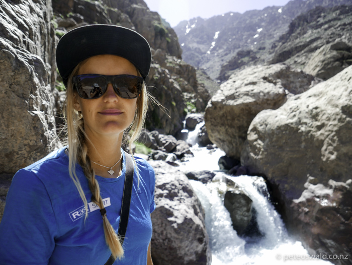 Sophie near the start of the trek up to the refuge from Imlil on the first day of climbing