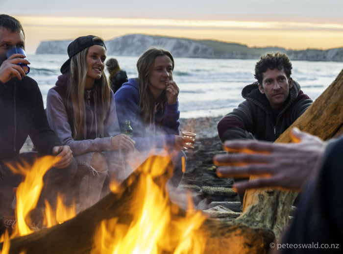 A good beach fire camping session for Jamie Richards' birthday where clearly an epic story is being told! L-R: A nice bloke whose name I have forgotten, Sophie, her sister Ellie, and Chris Haysey