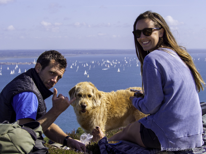 Will Satterly, Cat Platts, Hedrix (the dog) and I having a cliff top BBQ breakfast watching the billions of boats!