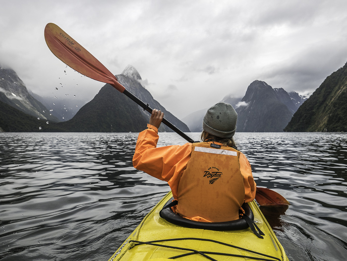 Kayaking in Milford Sound with Sophie