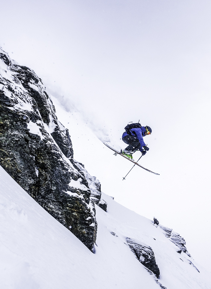 Sending a stormy one in the Alta Chutes at The Remarkables. Photo: Lukas Zögerntiz