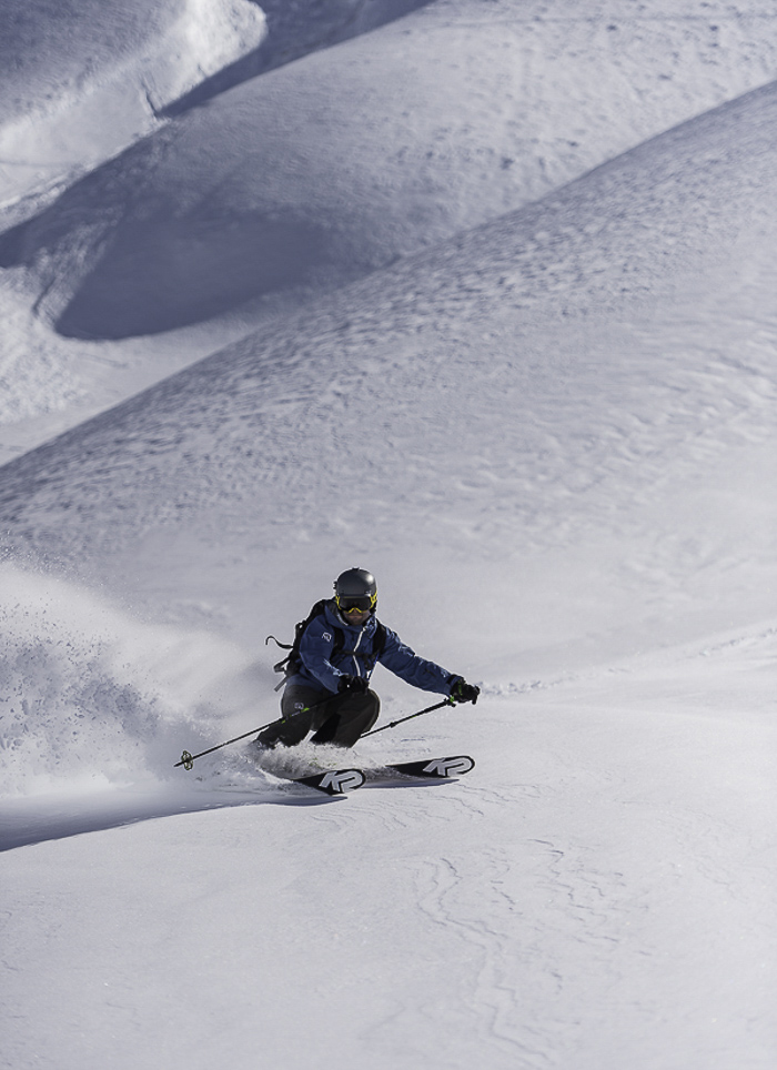Finding soft snow was challenging in the super variable condition. Photo: Mark Bridgwater