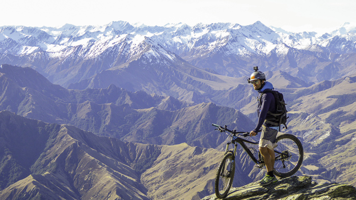 Mountain biking with Hamish Smith up Ben Lomond near Queenstown. Photo: Hamish Smith