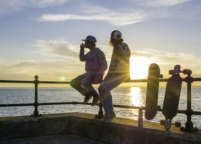 Evening skate sessions on the water front under a sunset drinking tea!