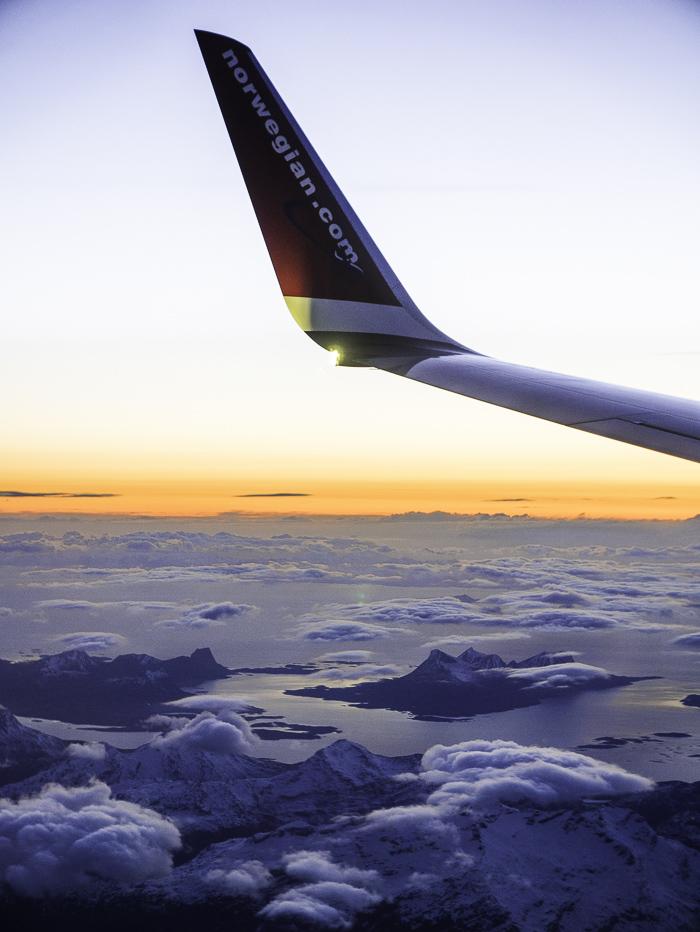 Lofoten from the air on dusk