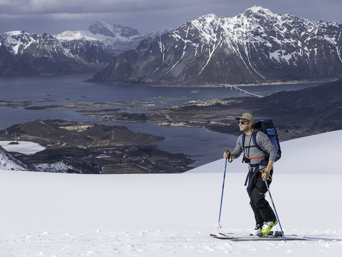 Hamish Smith touring up one of the island mountains in beautiful conditions