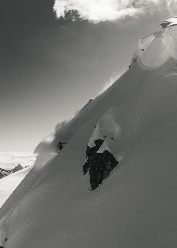 Hamish Smith slays a pow ladened spine. Photo: Sophie Stevens