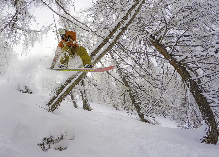 Ralph Backstrom smashing through the trees on one of the down day pow days