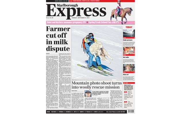Marlborough Express Newspaper - Front Cover