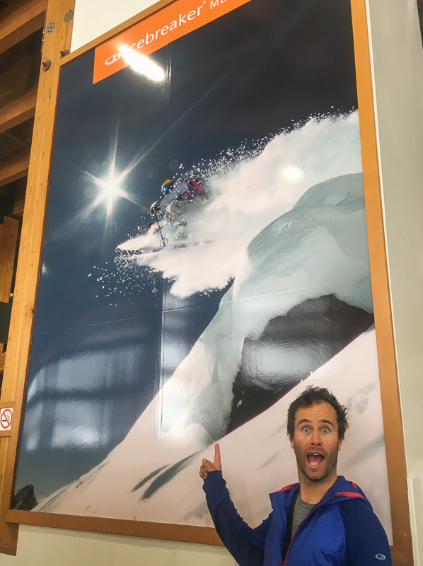 Pete finds a giant Icebreaker Poster of himself in Whistler. Photo: Sophie Stevens