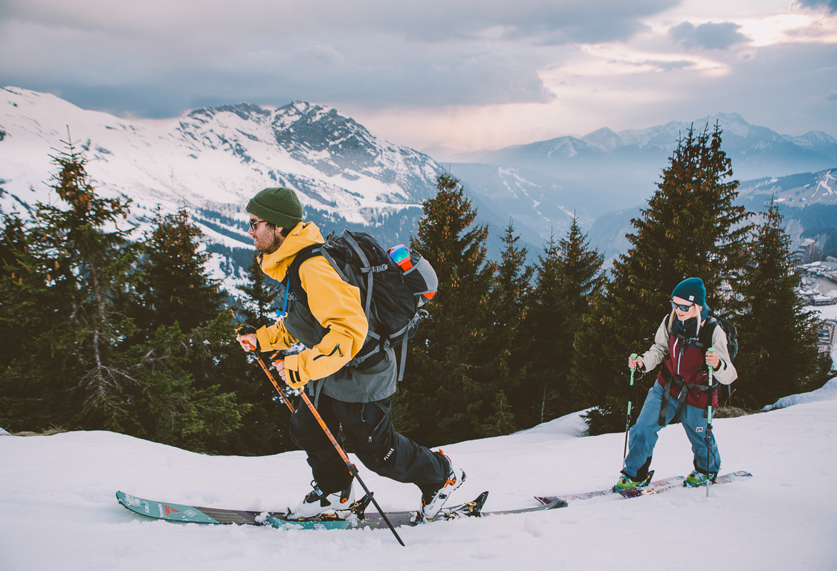 Pete & Soph out evening touring above Avoriaz. Photo: Sam Ingles
