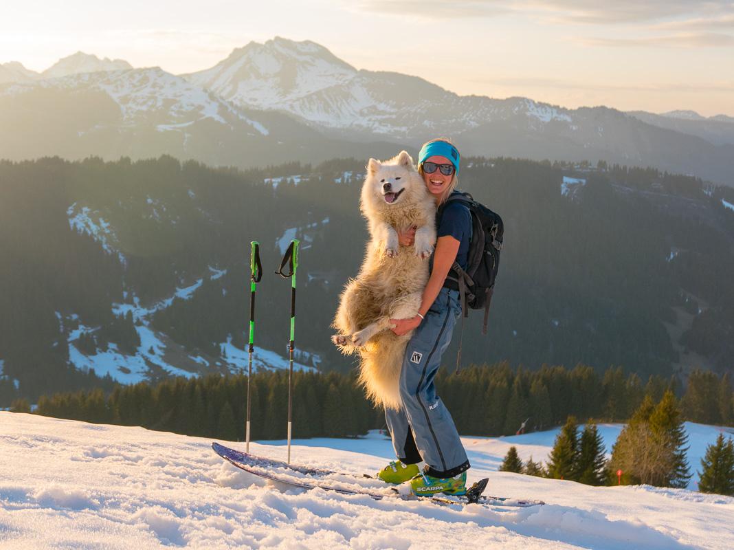 Soph with Uke the dog. Photo: Pete Oswald