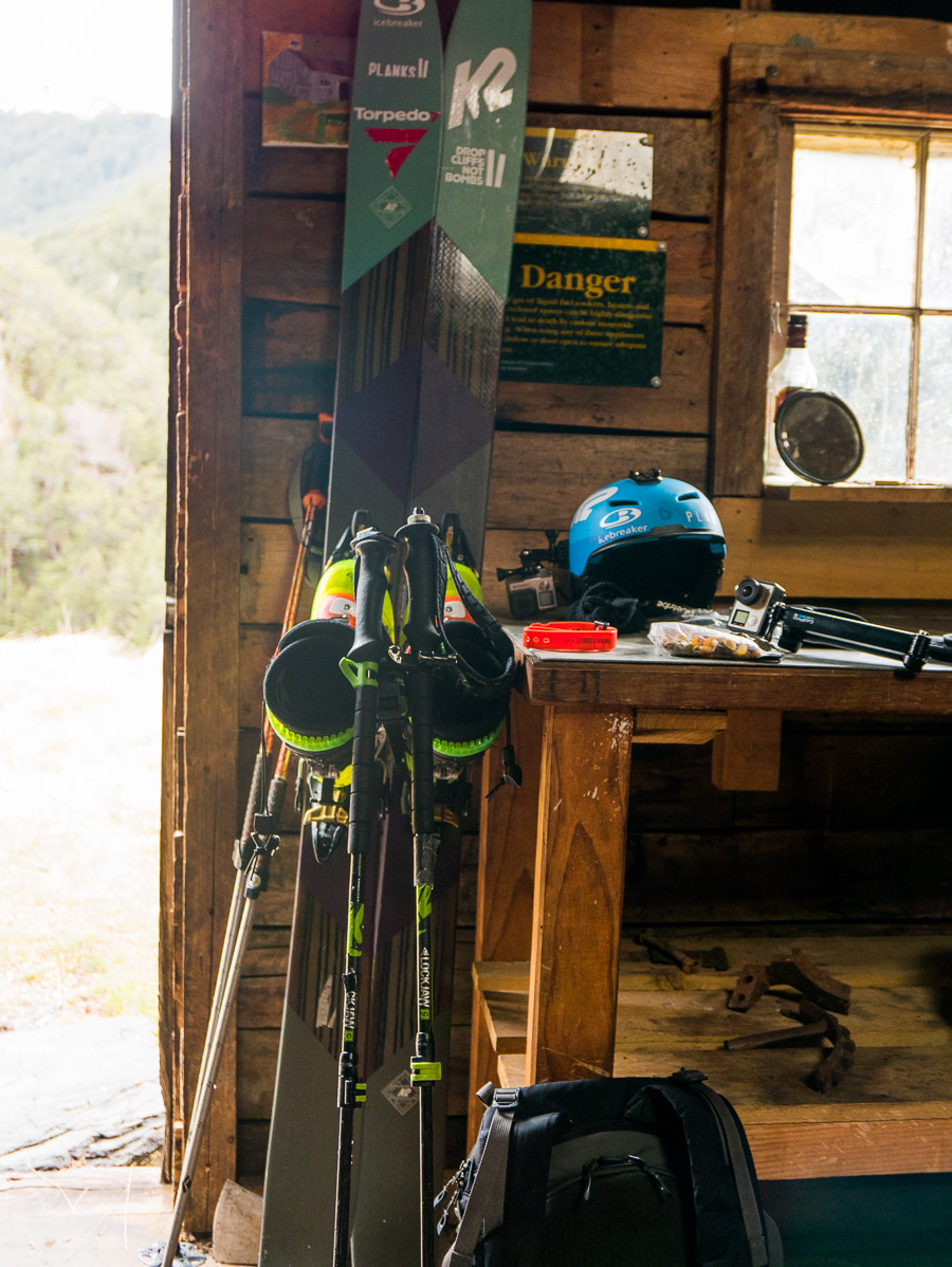 Gear ready and waiting by the door of the Dynamo Hut