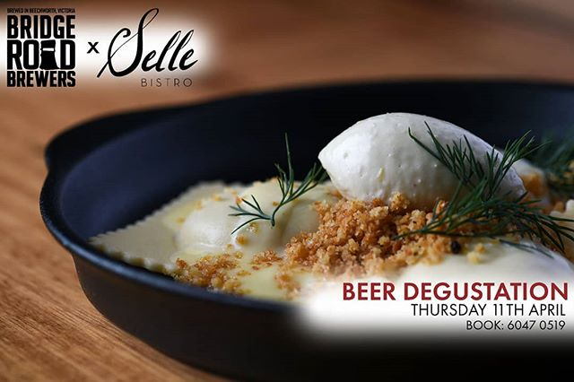 Join us tonight for a 5 course degustation dinner with matching @nakedned beers, meet the brewer session @jimmy_brews  Thursday 11th April 6:30pm  Tickets $120 available via emailing: contact@bistroselle.com.au  #visitAW #albury #wodonga #thisistheborder #bridgeroadbrewersrewers #jointheposse #beechworth #craftbeer #degustationmenu #beer #bistro