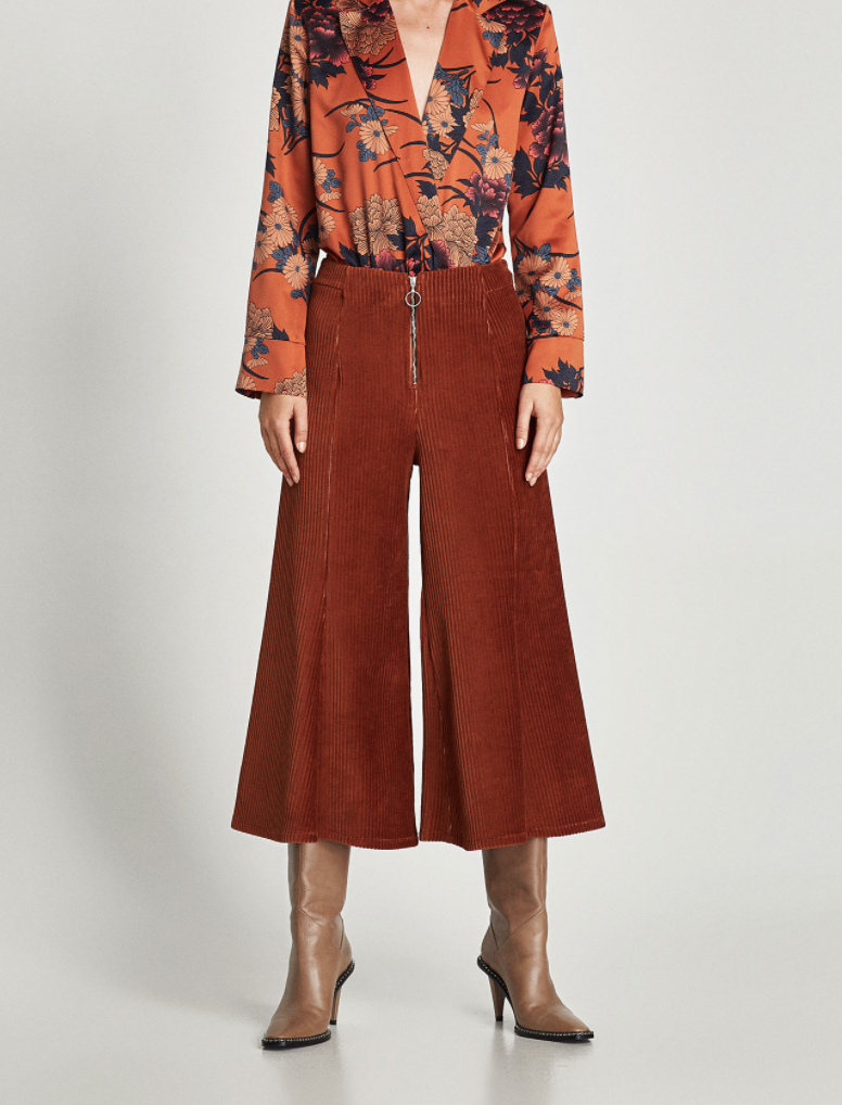 Zara, corduroy culottes, $35.90