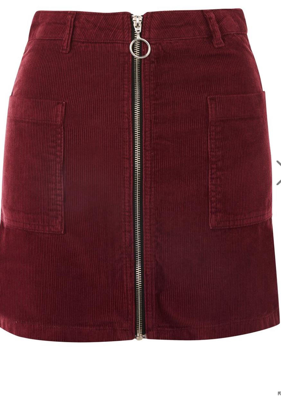 Topshop, MOTO Zip Through Corduroy Skirt, $65.00