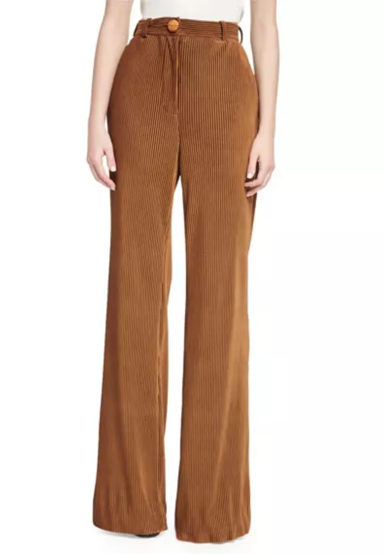 Acne Studios, Tessel Pinstripe Corduroy High-Waist Flare Pants, Camel, $430.00
