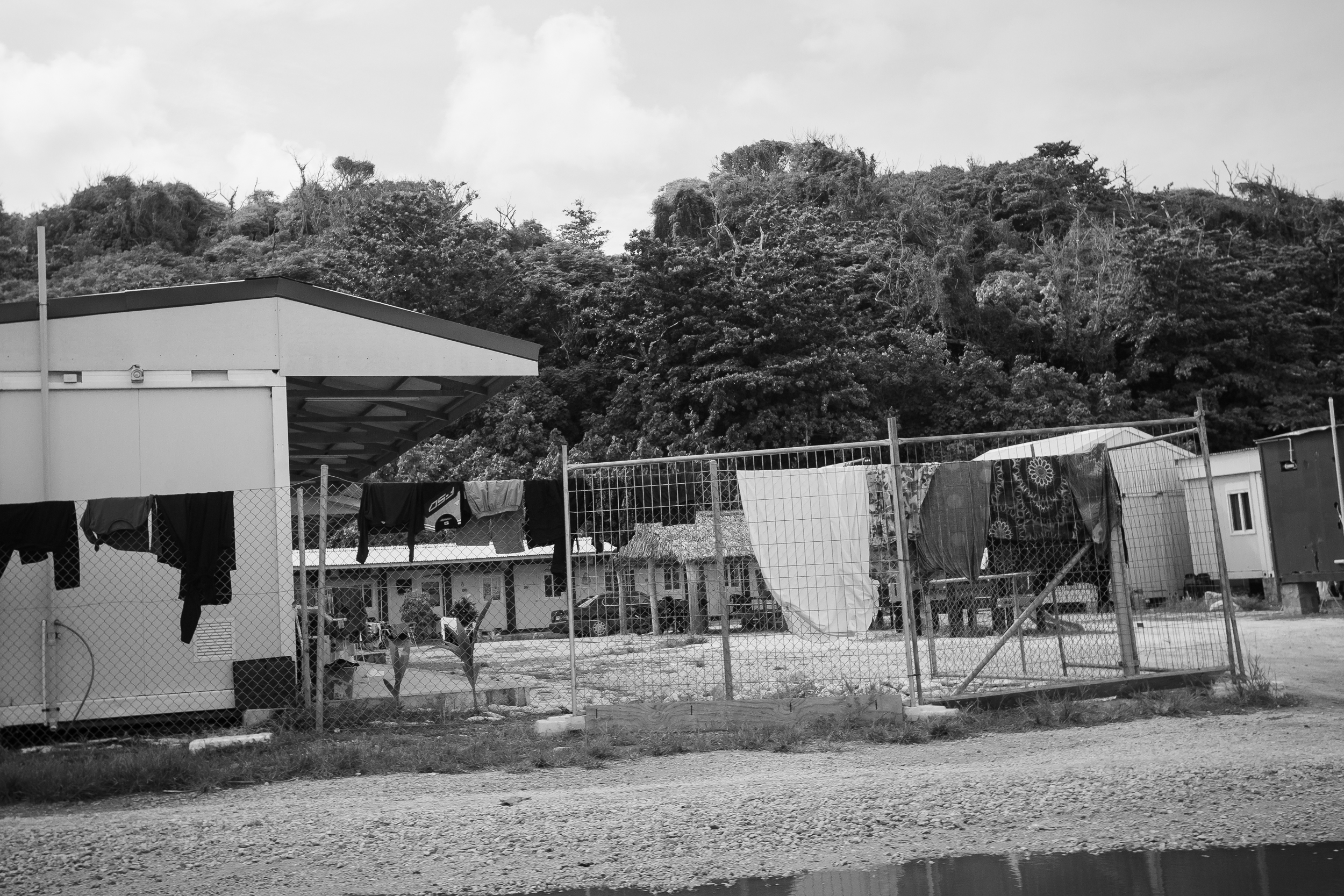 In 2014, refugees were gradually granted asylum by the Nauruan government and were released into the community. Anibare is an open camp on the eastern side of Nauru home to those who have been granted asylum. Refugees living here can come and go as they please, but the camps are still guarded and behind fences.