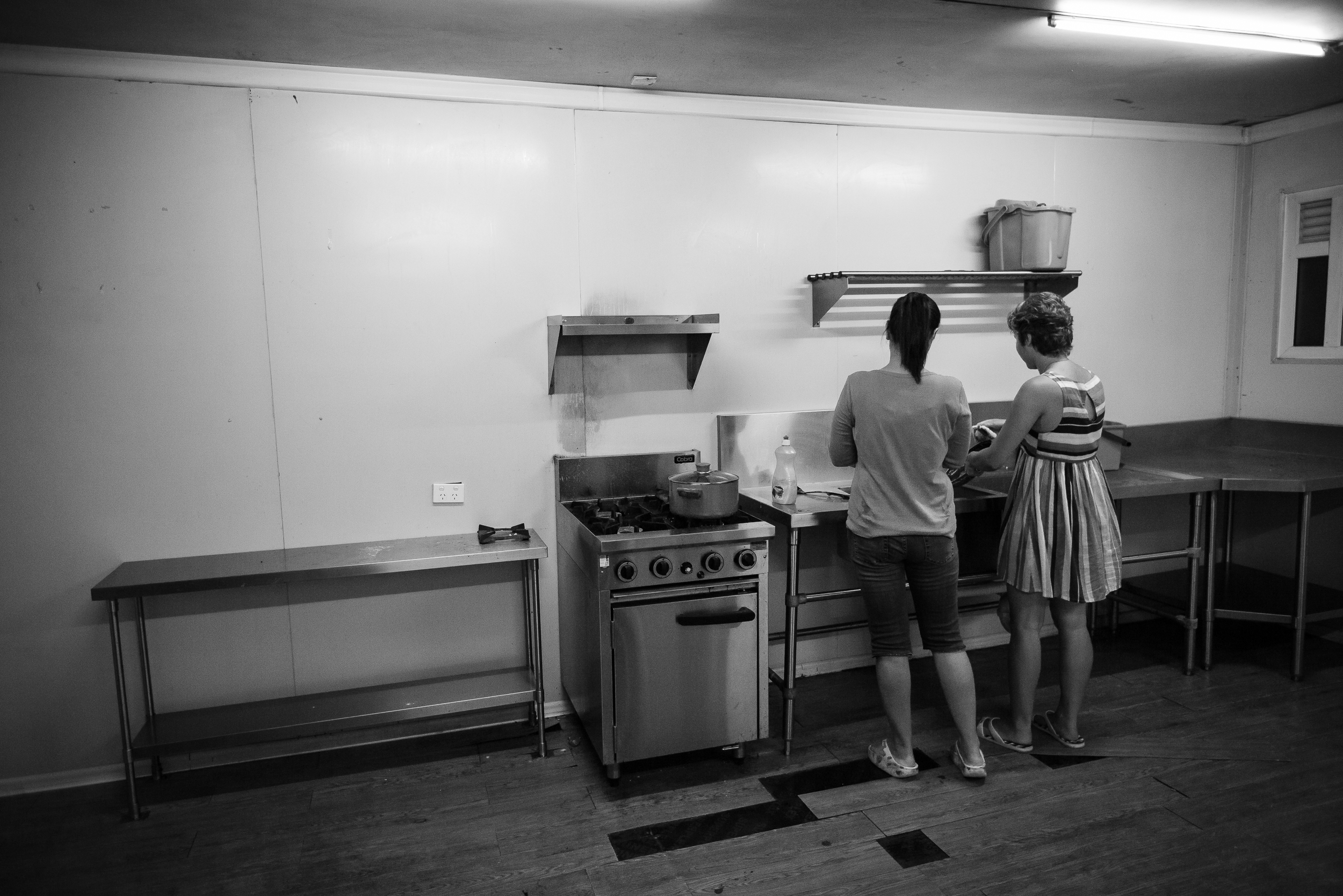 Anibare camp has one sparse communal kitchen, that is often out of order, to serve all the families, which makes it very difficult to orchestrate cooking dinner. Many of the refugees have taken to cooking meals in their own bathrooms.