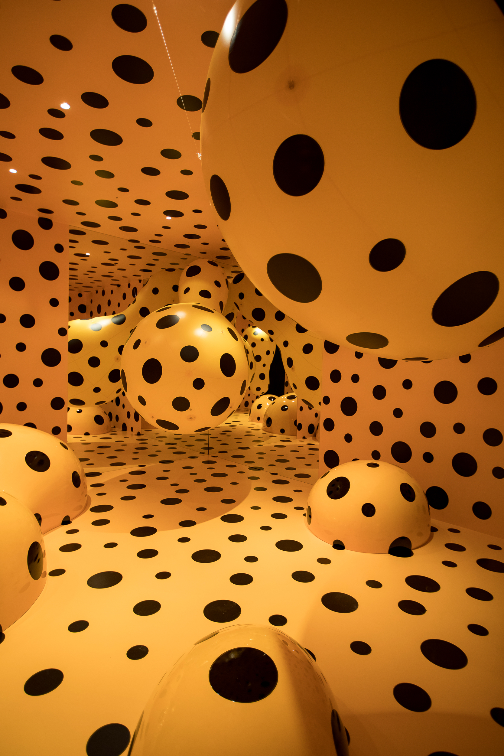 Dots Obsession—Tasmania 2016  Yayoi Kusama (Born 1929, Matsumoto, Japan; lives and works in Tokyo, Japan) Mixed media installation Commissioned by Mona for On the Origin of Art  ©Yayoi Kusama. Courtesy YAYOI KUSAMA Inc., Ota Fine Arts, Tokyo/ Singapore and Victoria Miro Gallery, London