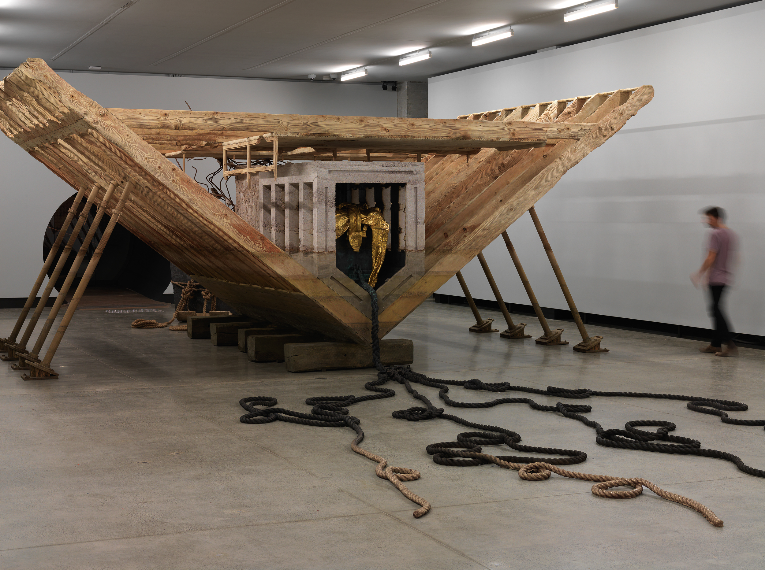 Boat of Ra 2014  Matthew Barney (Born 1967, San Francisco, CA, USA; lives and works in New York) Wood, resin-bonded sand, steel, furniture, cast bronze and gold-plated bronze 335.3 x 1524 x 731.5 cm  Courtesy of the artist and Gladstone Gallery, New York and Brussels