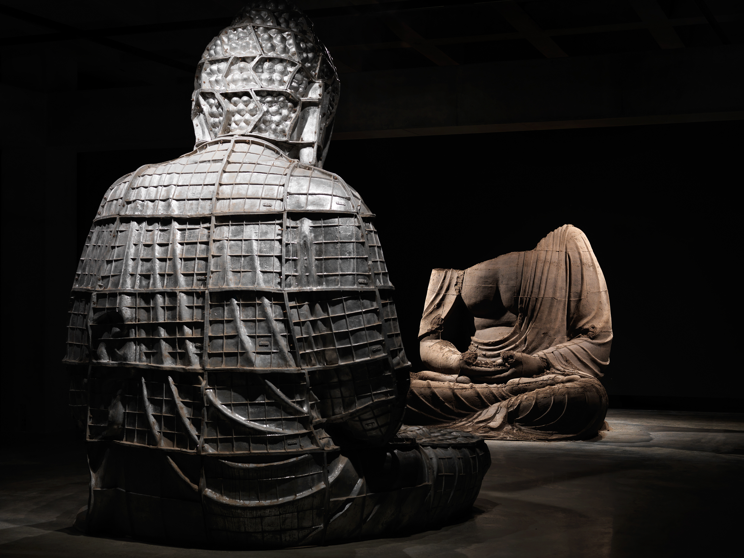 Berlin Buddha 2007  Zhang Huan (Born 1965, Anyang, Henan Province, China; lives and works in Shanghai, China and New York, NY, USA) Aluminium and ashes Each 370 x 260 x 290 cm  Private collection, Geneva, courtesy of Letizia Cramer